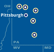 Map showing the Penn State Beaver, Fayette, Greater Allegheny, and New Kensington campuses as well as the surrounding Pittsburgh area.